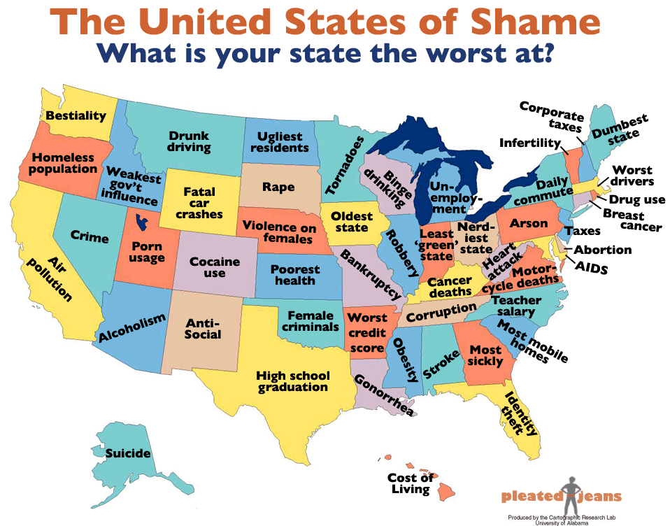 The United States of Awesome and Shame [Infographic] | Bit ...