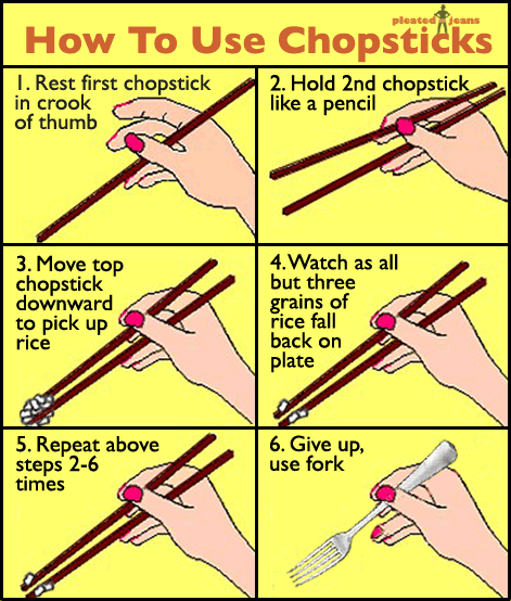 how to use chopsticks Learn how to use chopsticks in 3 simple steps a quick and easy-to-learn guide complete with diagrams and simple instructions.