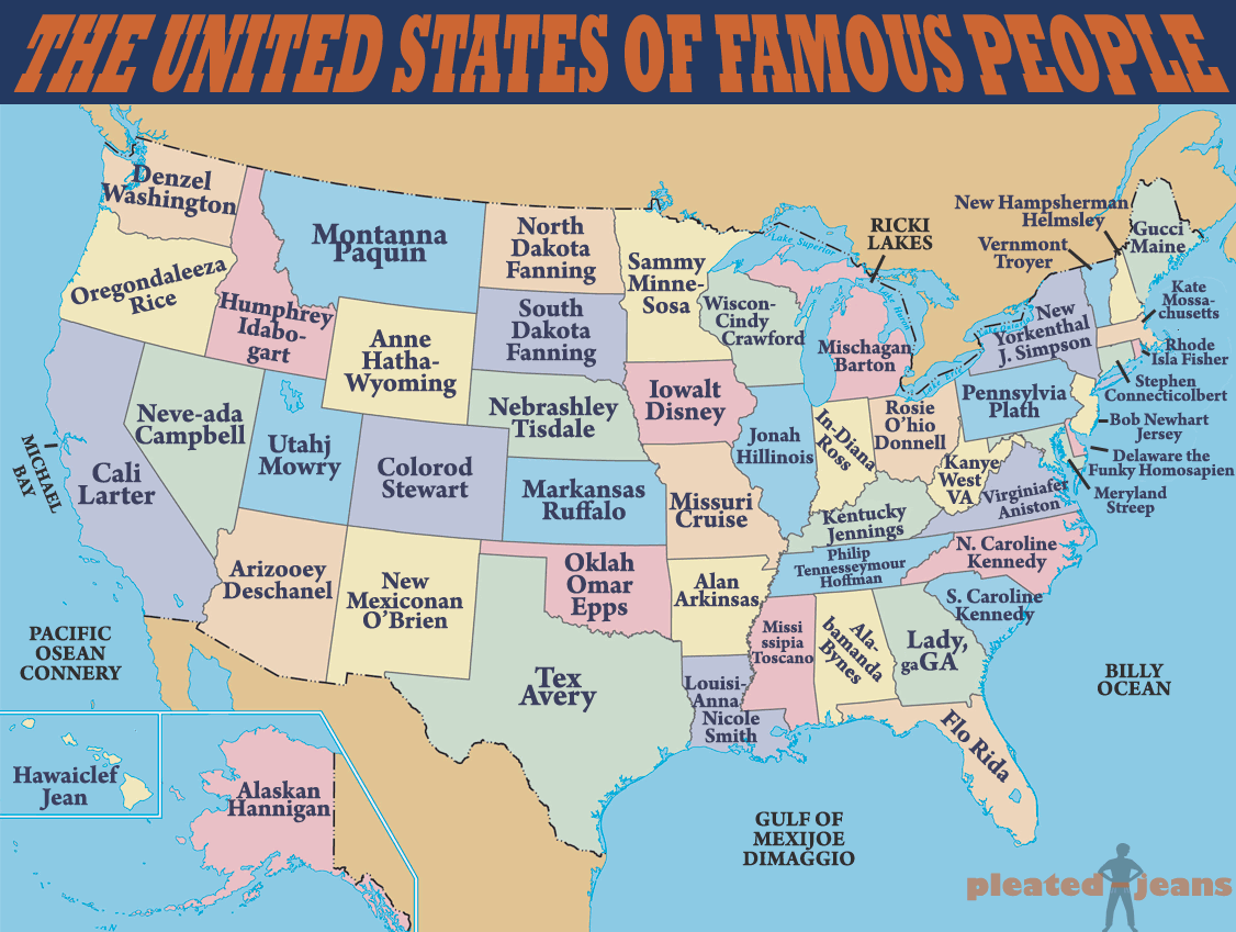 United states of famous people by pleated jeans com