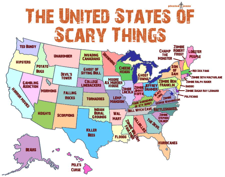 Map Of United States That Shows Scariest Thing In Each State - Black widow spider us map