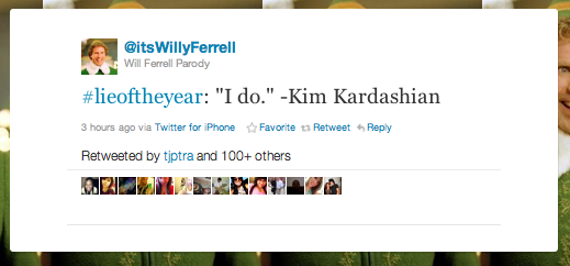 best lies of the year on Twitter -- Kim Kardashian wedding vows