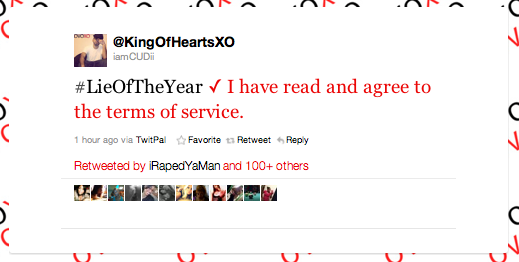 best lies of the year on Twitter -- terms of service