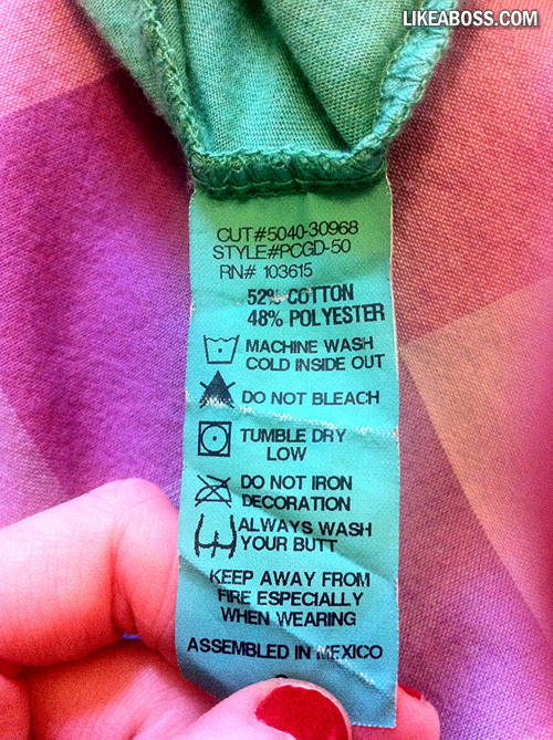 washing instructions on clothes