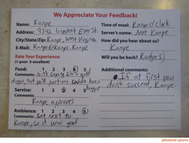 restaurant comment card
