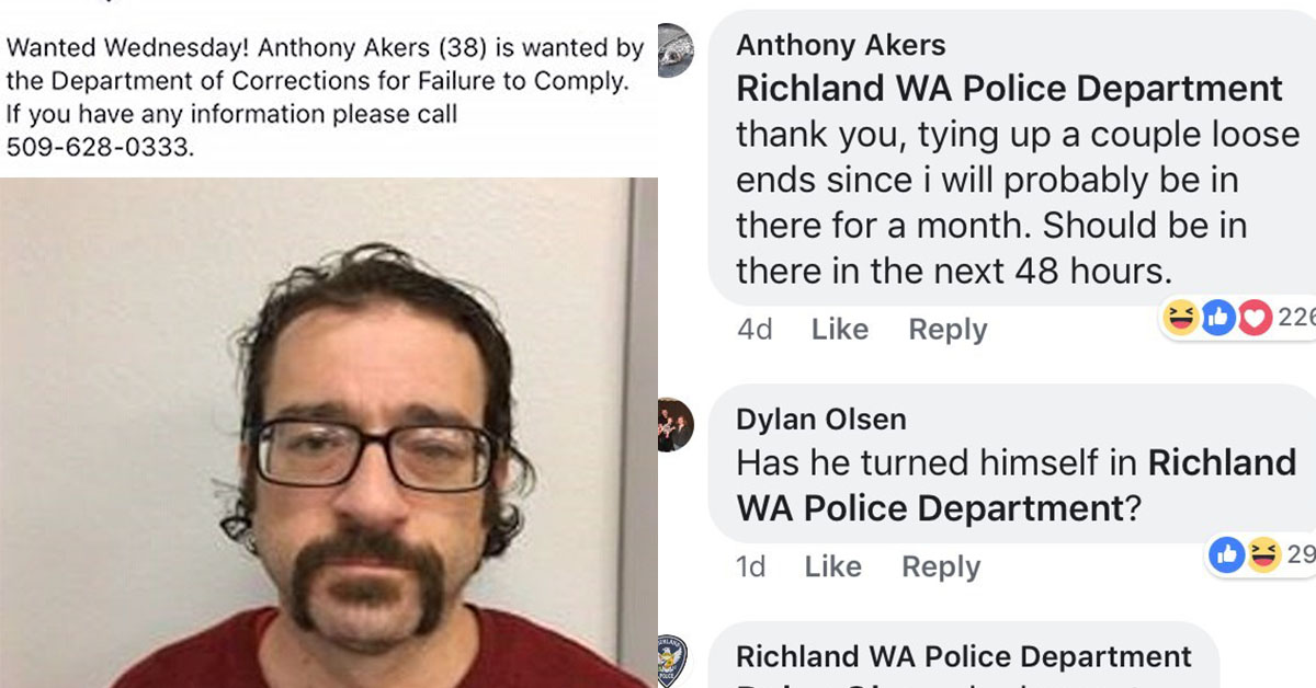Wanted Man Comments On His Own Facebook Mugshot