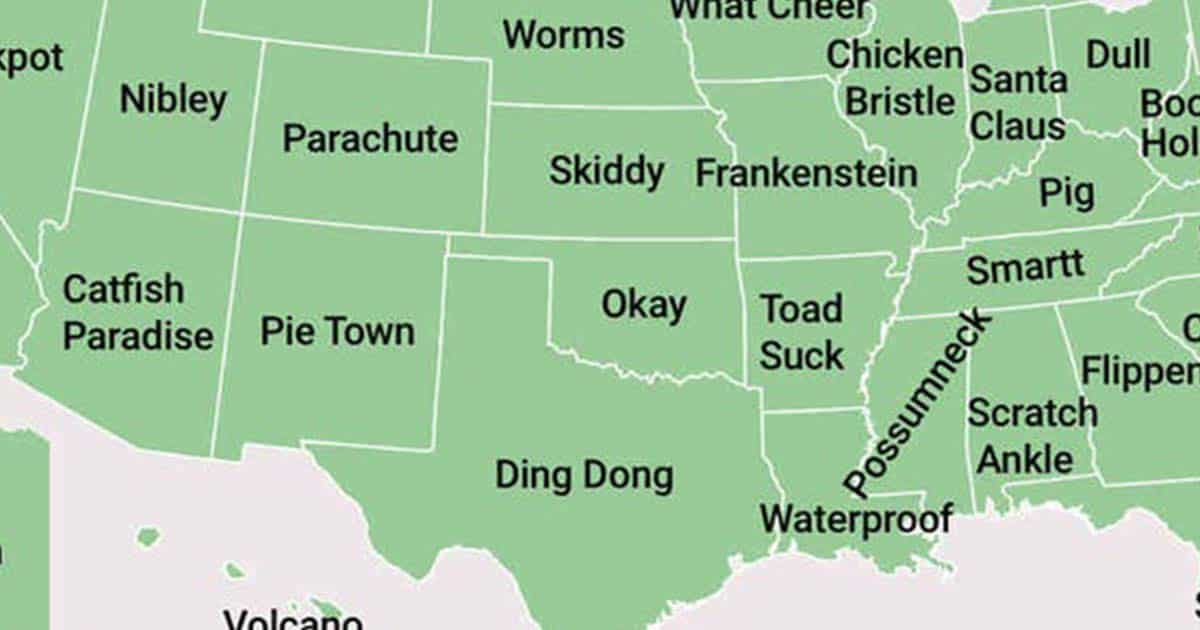 This Map Shows The Weirdest Town Names In Each State