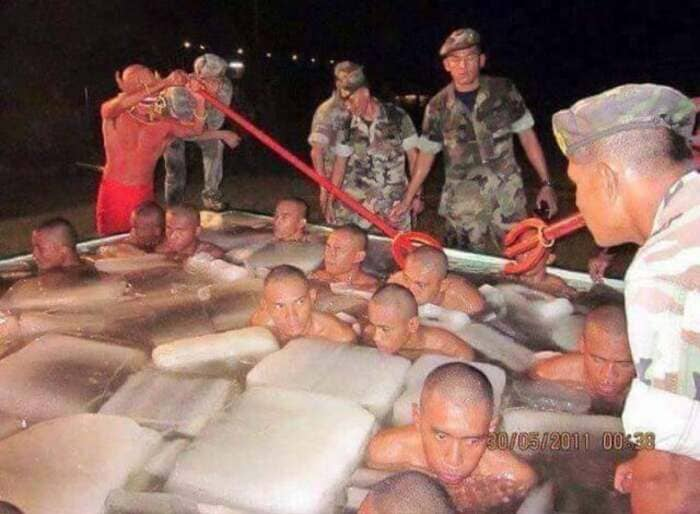 soldiers in ice with devils cursed image, cursed military image, cursed military picture