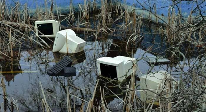 computers in marsh, computers in marshy area, cursed computers, cursed computer image, cursed computer picture, cursed computers picture