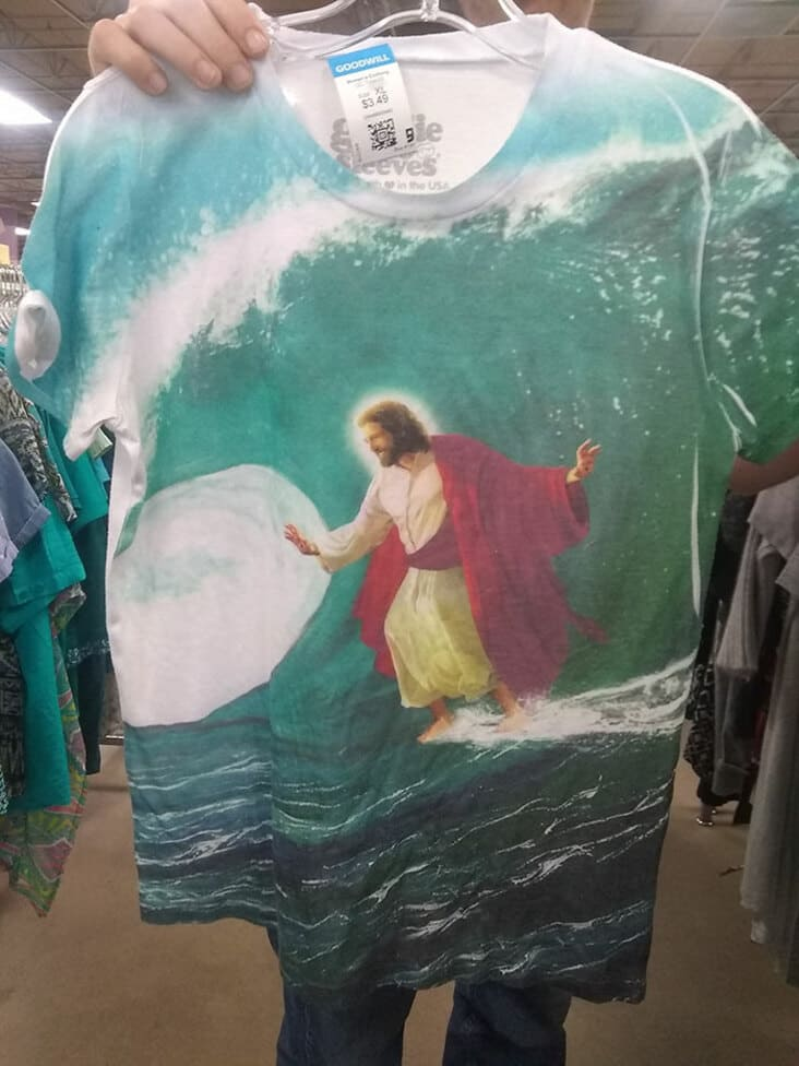 surfing jesus shirt, thrift shopping finds, secondhand finds, thrift store finds, funny thrift store finds, funny secondhand finds, funny second hand find, funny second hand finds, weird second hand find, funny thrift shop find, funny thrift finds, funny thrift find, strange thrift finds, weird thrift store find, strange thrift store find, weird thrift store finds, thrift store finds, weird secondhand finds, weird secondhand finds that just need to be shared