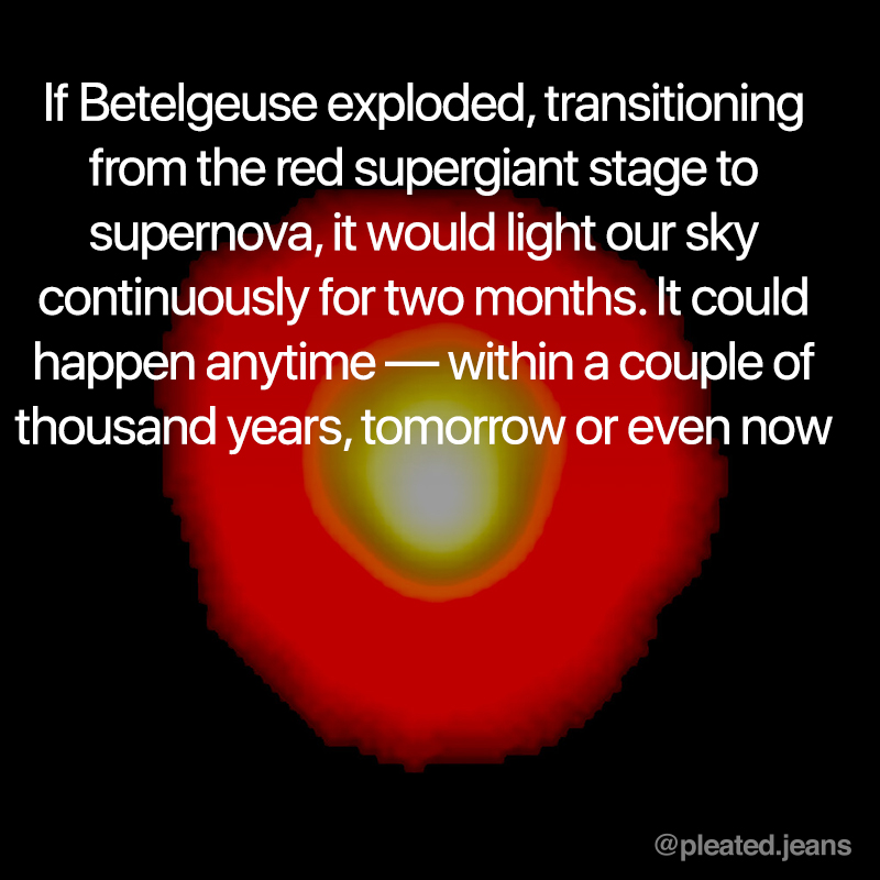betelgeuse explosion could light up sky for 2 months, betelgeuse science fact