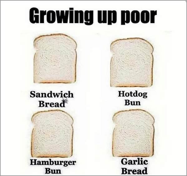 growing up poor meme