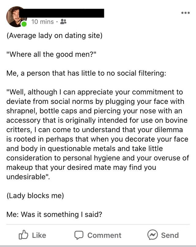 idiot criticizing a woman about piercings