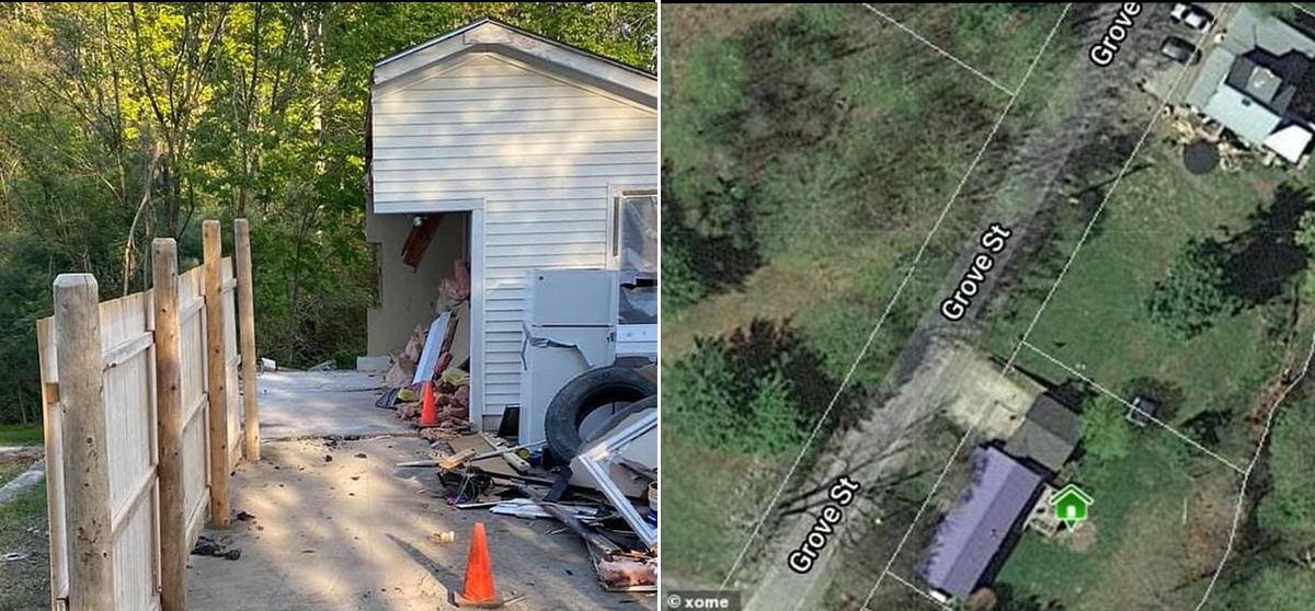 Guy Gets Revenge By Cutting Neighbors Garage In Half (6 Pics)