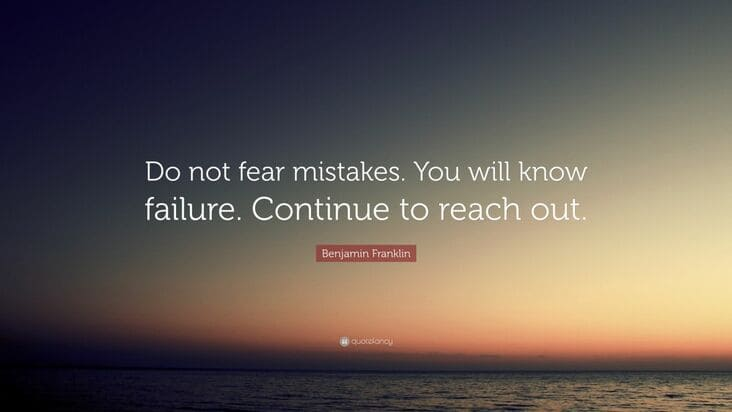 do not fear mistakes inspirational meme, do not fear mistakes encouraging meme