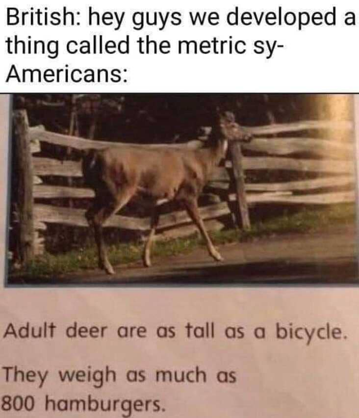 measuring deer with hamburgers and bicycle, anything but the metric system meme, anything but the metric system memes, americans metric system meme, americans metric system memes, funny americans metric system meme, funny americans metric system memes, funny americans and the metric system meme, funny americans and the metric system memes, americans will use anything but the metric system, using anything but the metric system meme, using anything but the metric system memes, americans avoiding the metric system meme, americans avoiding the metric system memes, americans avoid the metric system meme, americans avoid the metric system memes, funny avoiding metric system meme, funny avoiding metric system memes, avoiding the metric system meme, avoiding the metric system memes, funny way to measure something, funny ways to measure something
