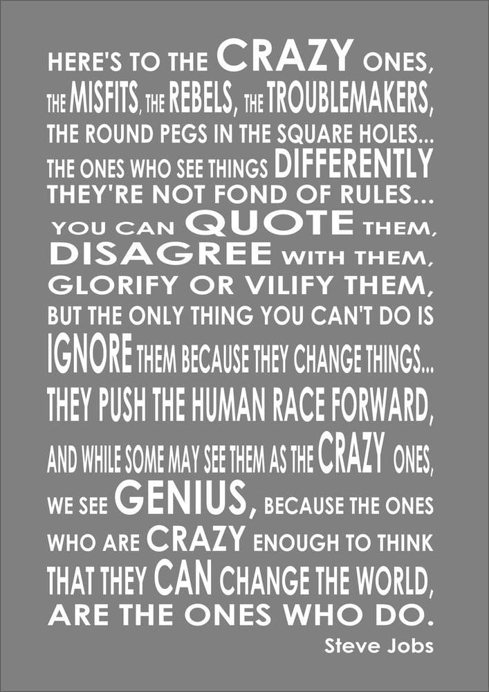 here's to the crazy ones steve jobs inspirational meme, steve jobs inspirational meme, inspirational meme, inspirational memes, inspiring meme, inspiring memes, inspirational image, inspirational images, inspirational pictures, inspirational picture, encouraging meme, encouraging memes, encouraging picture, encouraging pictures, positive meme, positive memes, inspiring image, inspiring images, inspiring picture, inspiring pictures, inspirational quote image, inspirational quote picture, inspirational quote images, inspirational quote pictures