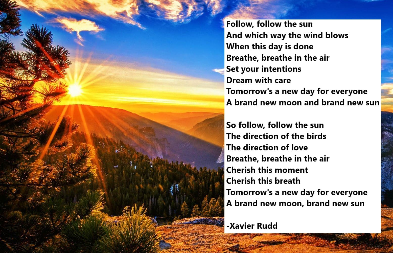 follow the sun inspirational meme, xavier rudd inspirational meme, tomorrow is a new day for everyone inspirational meme