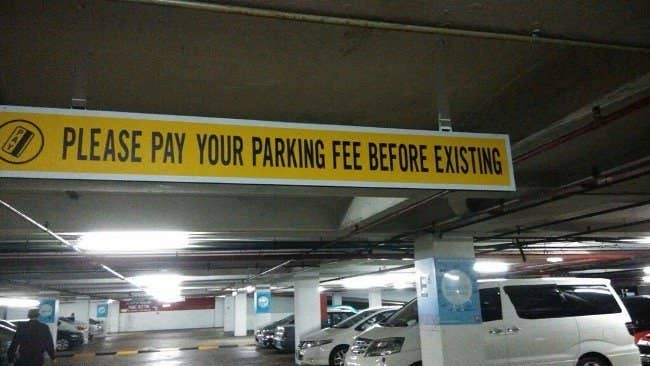 please pay parking before existing you had one job fail