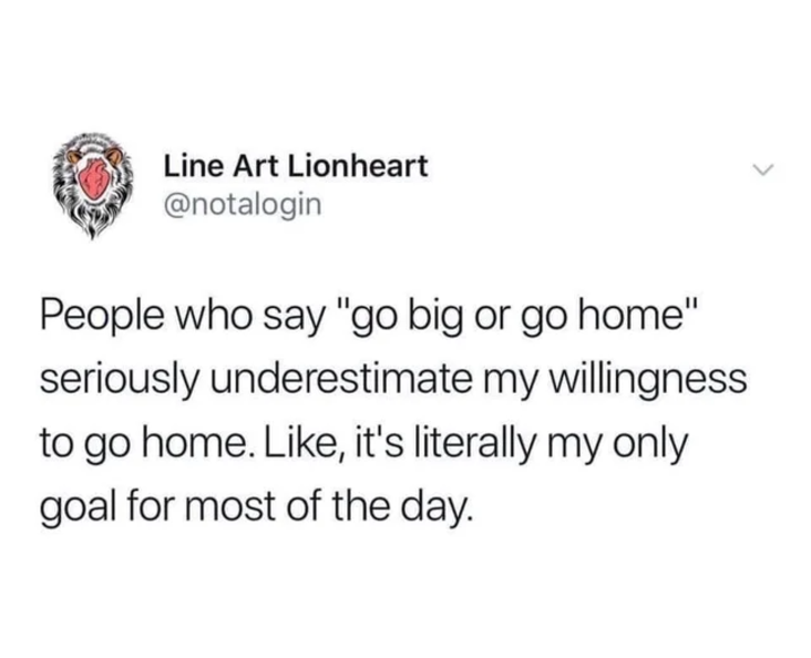 Work meme of tweet saying go big or go home