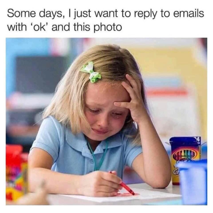 Work meme about crying in emails