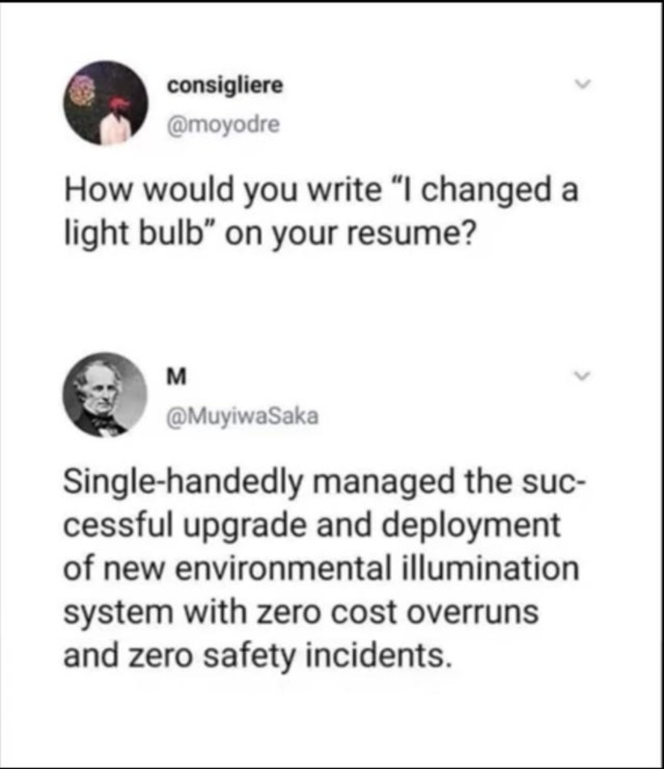 Work meme about resumes and lightbulbs