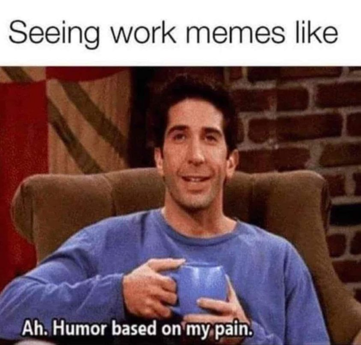 Work meme with Ross relating to the pain