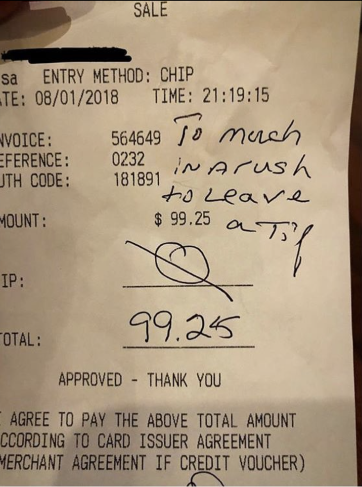 Too much of a rush to leave a tip