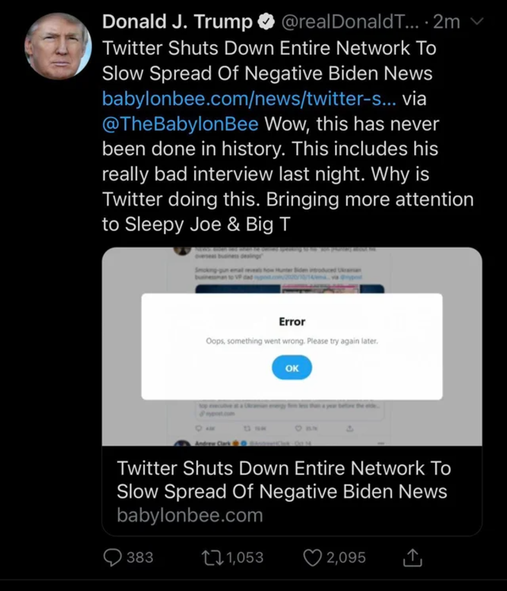 Ate the Onion politics Trump tweet article political joke someone missed the point