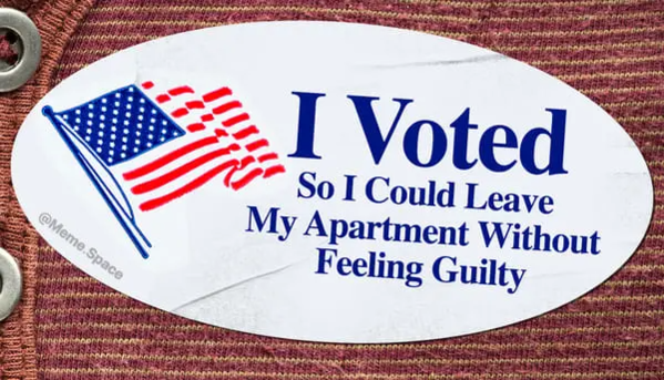 Funny and honest I voted sticker that says I voted so I could leave my apartment without feeling guilty