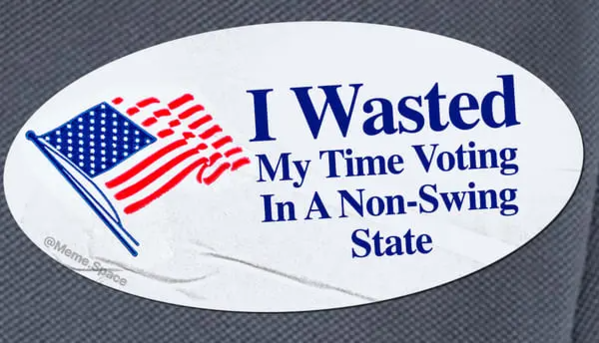Funny and honest i voted sticker that says I wasted my time voting in a non-swing state