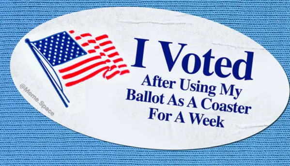 funny I voted sticker that says I voted after using my ballot as a coast for a week