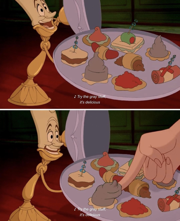 Beauty and the beast, candle showing the food off, Movie food recreations, food on screen, instagram meals from film and TV, curmudgeonclay