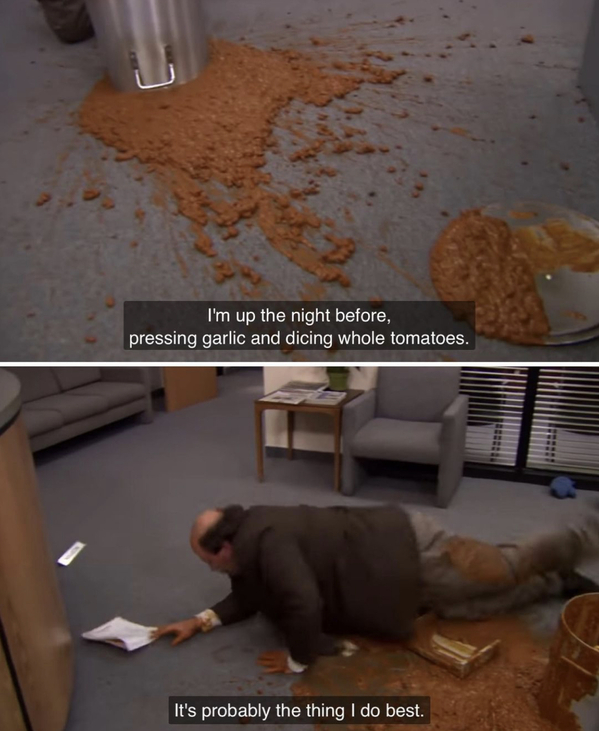 Movie food recreations, food on screen, instagram meals from film and TV, curmudgeonclay, the office, chili spill