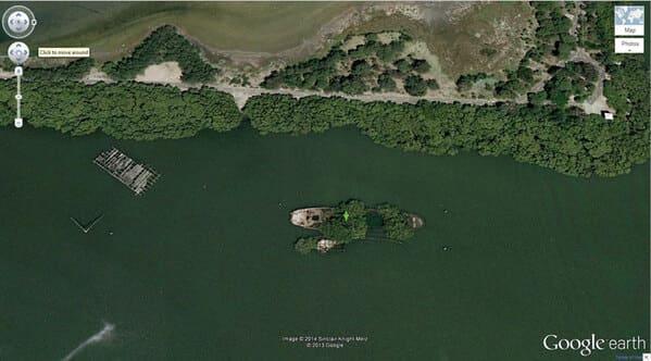 Shipwrecked SS Airfield with Trees, Homebush Bay, Sydney, Australia